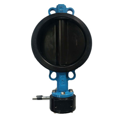Rubber lined butterfly valve worm gear operated